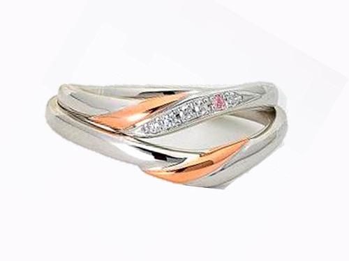 結婚指輪:アイヴェール 上:30466 ABWD 1/150×6p ¥126,000 (PT/K18PG) 下:30467 AB ¥115,500 (PT/K18PG)