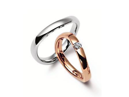 結婚指輪:マイスター シンボリックスライン 076 左:WG750 ¥170,000- 右:RG750 ¥275,000-