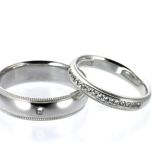 結婚指輪:CYO 414102 ミルグレイン2.5mmポリッシュ(鏡) 411111 ミルグレイン5mmポリッシュ(鏡)