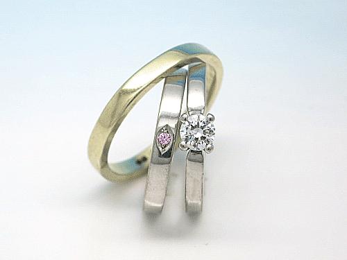 婚約指輪・結婚指輪:右:ER-0005-1 枠のみ ¥111,400- 中:ER-0005-2PD 0.03ct ¥173,400- 左:ER-0005-3YG ¥89,120-