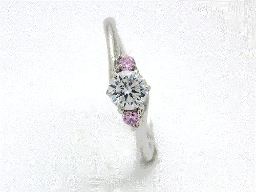婚約指輪:結心 ハードPt900 0.2ct, 0.015ct×2 ¥139,320-