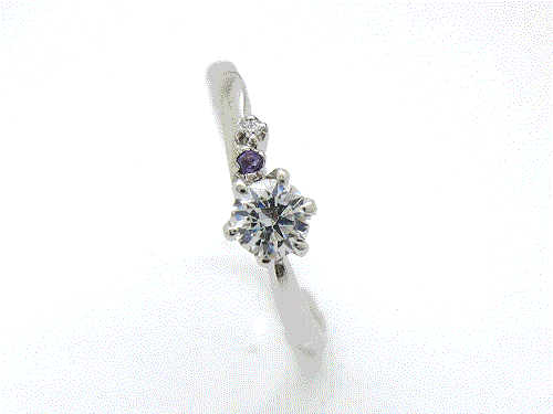 婚約指輪:結心 ハードPt900 0.2ct, 0.01ct×1, 0.005ct×1 ¥123,984-