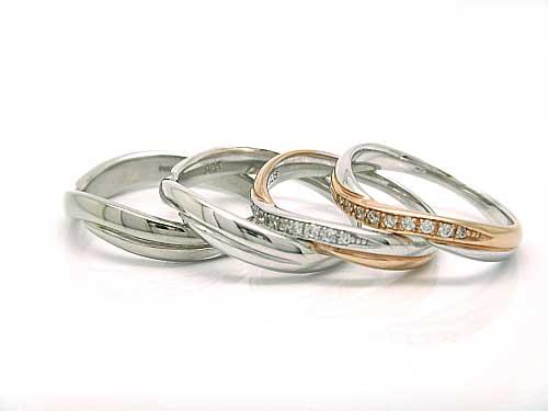 結婚リング:稟心 左1:Pd950 ¥62,370- 左2:Pt900 ¥77,220- 右 1,2:Pt900 K18PG コンビ ダイヤ ¥137,000-