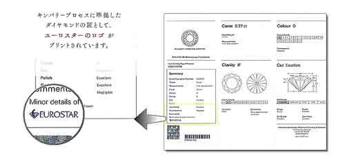 キンバリープロセスのダイヤモンド ユーロスターのロゴがプリントされています。